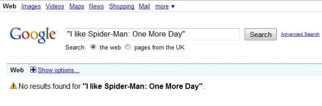 "Google results for ""I like One More Day"""