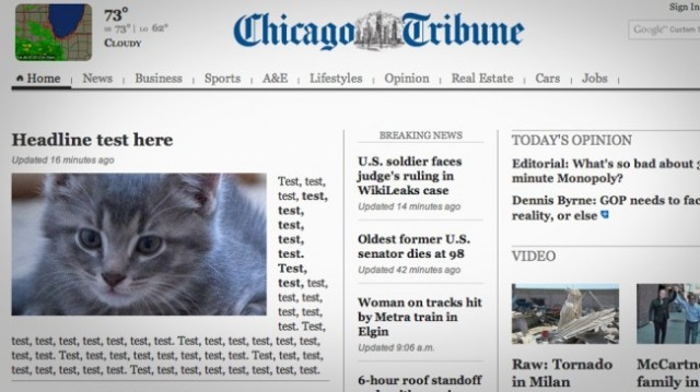 Chicago Tribune headline test