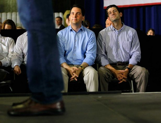 Scott Walker and Paul Ryan staring at stuff