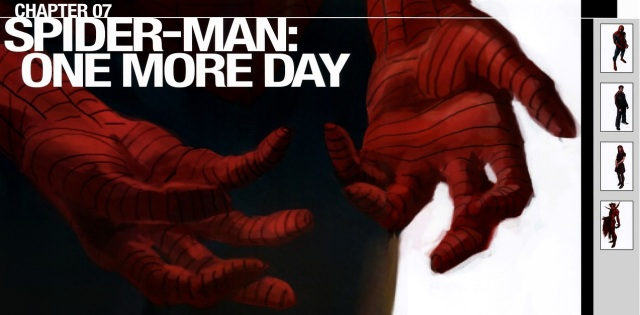 Marko Djurdjevic's One More Day close-up of Spider-Man's hands.