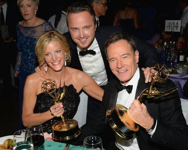Anna Gunn, Aaron Paul and Bryan Cranston Breaking Bad Emmy Awards