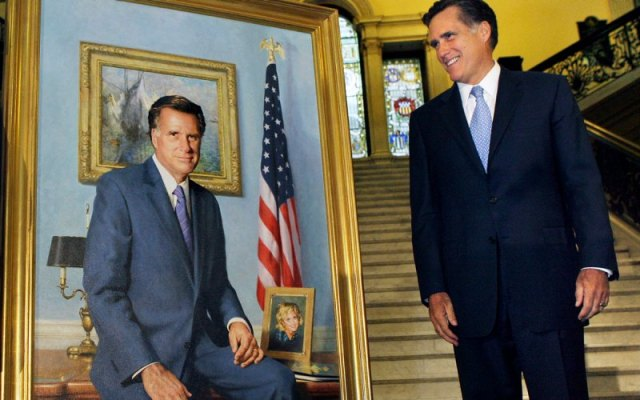 Mitt Romney looking at his portrait.