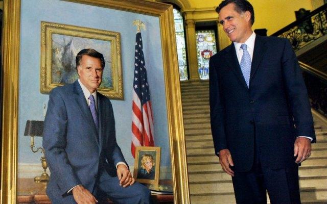 Mitt Romney looking at his portrait.